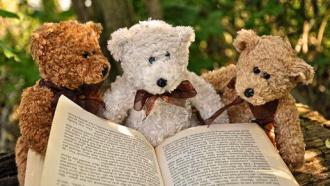 stuffed animals with book