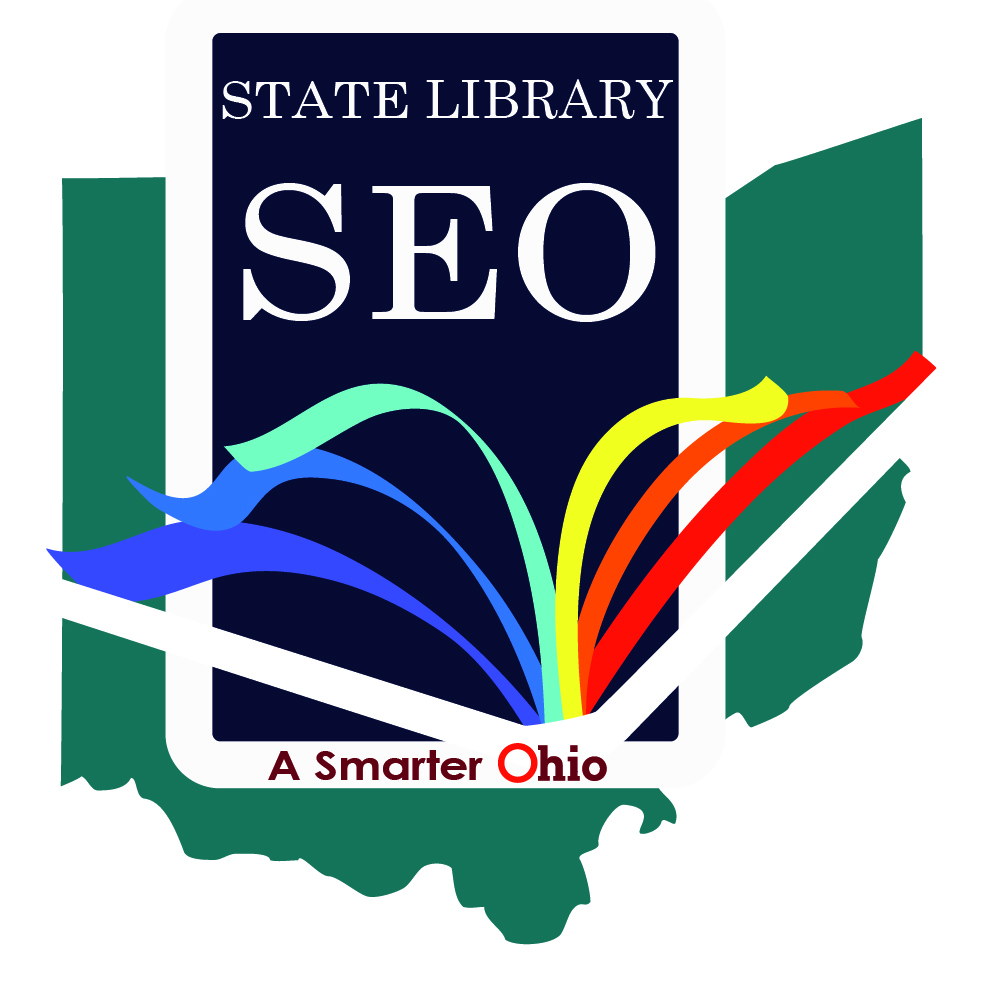 Image. Logo of the State Library of Ohio with an Ohio map in the the background, and an open book in the foreground.